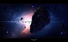 Обои космос, звезды, астероид