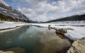 Картинка снег, озеро, Medicine Lake