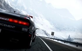 Картинка дорога, машина, снег, горы, полиция, Need For Speed: Hot Pursuit, страсса