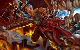Обои череп, меч, арт, монстры, лава, битва, парень