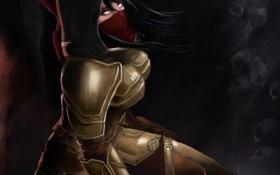 Обои глаза, девушка, арт, капюшон, Diablo, Demon Hunter