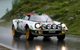 Картинка дорога, дождь, Car, Lancia, Rally, Stratos, легенда автоспорта