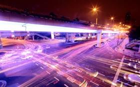 Картинка свет, машины, ночь