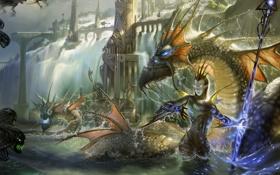 Обои магия, Девушка, драконы, духи, посох, водопады, волшебница