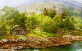 Картинка пейзаж, деревья, горы, рисунок, домик, озеро, картина