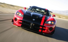 Обои Красный, Авто, Черный, Капот, Dodge, Фары, Viper
