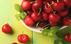 Обои ягоды, красные, мята, вишни