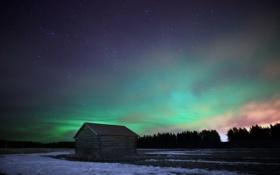 Картинка лес, звезды, ночь, дом, северное сияние
