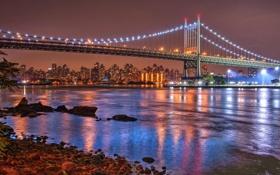 Обои США, город, река, ночь, мост, огни