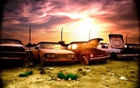 Картинка солнце, volkswagen, тачки, свалка, cars, mazda, volvo