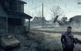 Картинка машина, война, дома, деревня, солдат, homefront, военный вертолет