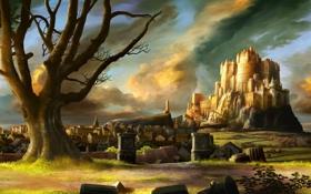 Картинка замок, город, пейзаж, дорога, крепость, тучи, дерево