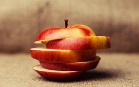 Обои apple, food, fruits, slices, healthy, chopped