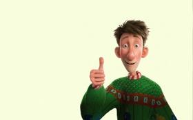 Обои мультфильм, зеленый свитор, Секретная служба Санта-Клауса, жест, улыбка, Arthur Christmas, все окей