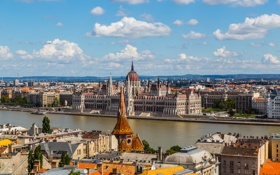 Картинка город, река, здания, дома, панорама, Венгрия, Дунай