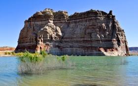 Картинка небо, вода, озеро, скала
