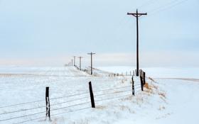 Обои дорога, поле, осень, снег, забор