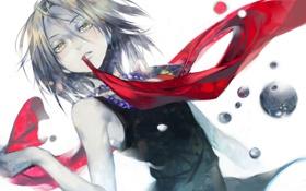 Картинка девушка, аниме, шарф, арт, бусы, shaman king, coralstone