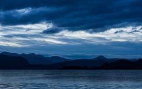 Картинка горы, озеро, тучи, рябь