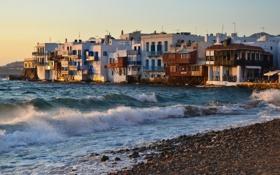 Картинка море, волны, город, фото, побережье, Греция, прибой