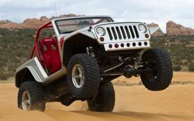 Обои внедорожник, jeep, передок, тюнинг, концепт, песок, ренглер