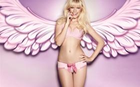 Картинка wallpaper, девушка, pink, girl, розовый, angel, обои
