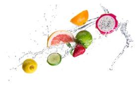 Картинка вода, брызги, лимон, апельсин, клубника, белый фон, лайм