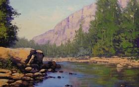 Обои арт, colorado river painting, река, artsaus, рисунок