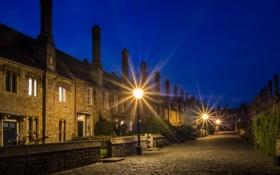 Обои ночь, город, фото, улица, Англия, дома, фонари