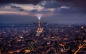 Картинка свет, ночь, город, огни, Франция, Париж, башня