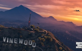 Обои закат, горы, антенна, вечер, вертолёт, vinewood, gta 5