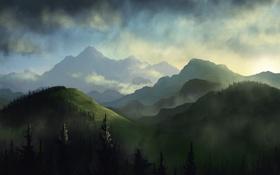 Обои лес, облака, деревья, холмы, ель, арт