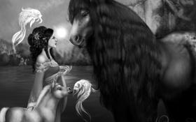 Картинка девушка, фантастика, животное, платье, арт, прическа, грива