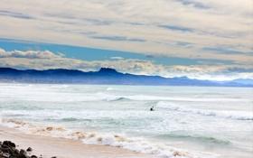 Картинка пейзаж, небо, облака, океан, волны, море, пляж