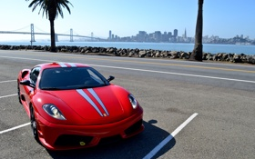 Обои F430, Ferrari, red, sexy, skyline, sky, Scuderia