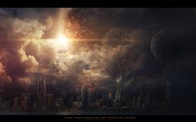 Обои город, апокалипсис, планеты