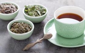 Картинка стол, чай, ложка, кружка, напиток, мята, блюдце