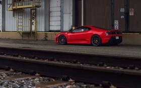 Обои красный, железная дорога, ferrari, феррари, скудерия, f430 scuderia, red.railway