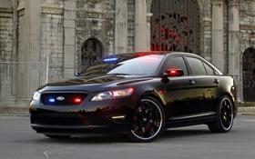 Обои машины, полиция, тачки, ford, police, interceptor, stealth