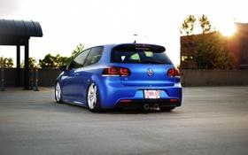 Картинка синий, тюнинг, volkswagen, сбоку, гольф, golf, low