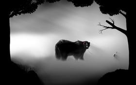 Обои деревья, туман, красное, ребенок, медведь, арт, поводок