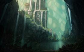 Картинка девушка, пейзаж, озеро, здание, водопад, арт, храм
