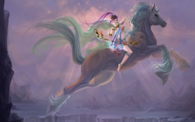Обои девушка, конь, лошадь, водопад