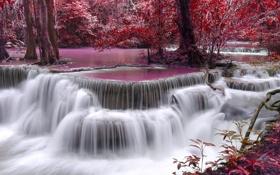 Обои river, autumn, waterfall, purple, flow