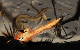 Картинка полет, люди, фантастика, огонь, война, крылья, драконы