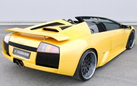 Обои Roadster, Lamborghini, Hamann, вид сзади, yellow, Murcielago, ламборгини