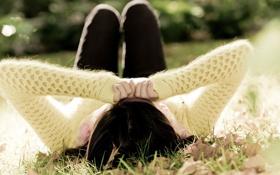 Картинка зелень, осень, трава, листья, девушка, фон, обои