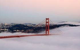 Картинка мост, огни, туман, сан франциско, golden gate bridge