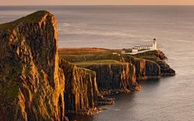 Картинка море, закат, скала, обрыв, берег, пейзажи, маяк