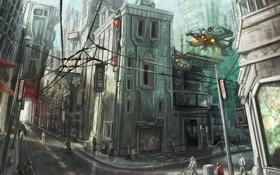 Обои город, будущее, люди, улица, провода, корабль